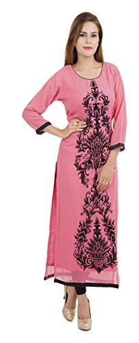 Zoeyams Women's Pink Georgette Embroidery Long Straight kurti