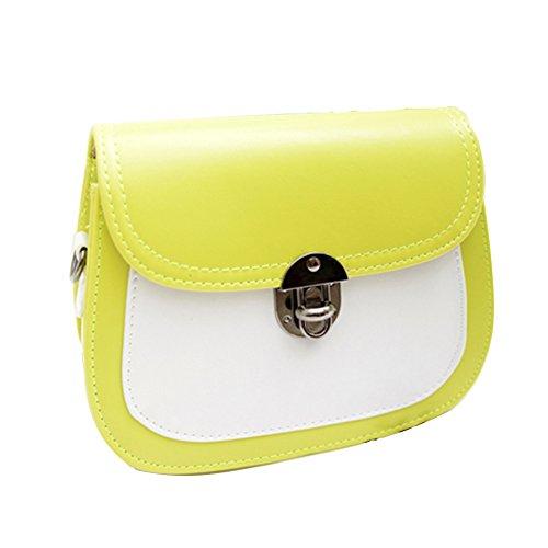 GSPStyle Damen Schultertasche Handtasche Mischfarben Umhängetasche Cross Body Stil Gelb