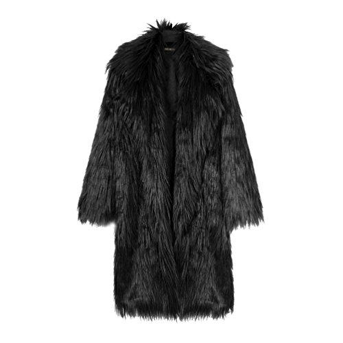 Yuandian donna allungare lunga pelliccia sintetica cappotto autunno inverno casuale morbido caldo elegante ecologica pellicce finta giubbotto giacche nero m