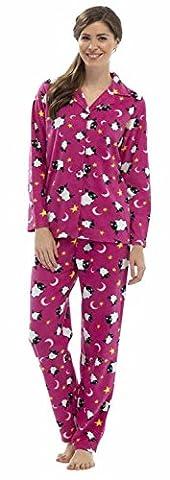 Tom Franks Damen Fleece Schlafanzug mit Schaf Aufdruck Knopfleiste (Rosa) 40-42