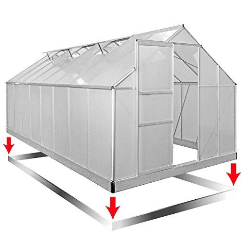 Aluminium Gewächshaus mit rostfreiem Stahlfundament 19,6 m³ Alu Gartenhaus 490x250x205cm Treibhaus Glashaus 6mm Platten