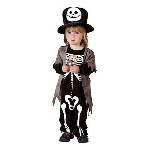 Skelett-Kostüm für Kinder für Halloween 98/104 (3-4 (Kostüme Schwarz Skelett Kind Anzug)