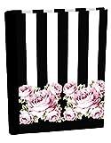 Clairefontaine Chantal Thomass 115332C Carnet d'adresses à spirale 14,8 x 21 cm 162 pages ligné Noir rayé Blanc avec Motif fleurs Rose/Vert