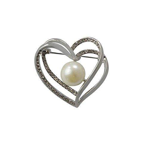 Moda amore finto perla spilla con diamanti , silver