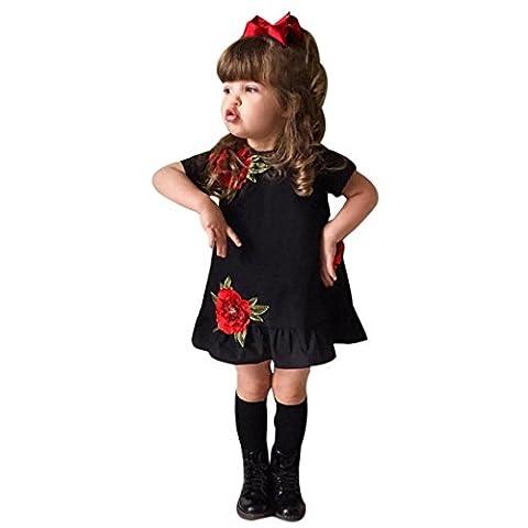 Sakure Toddler enfants Fille une ligne Longueur au genou à manches courtes sans manches Robe florale de Rose concours de beauté Princesse Robe de fête tenues Vêtements