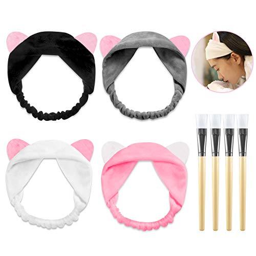 ke Kosmetik Pinsel Gesichtsmaske Pinsel Bürste + 4 Stücke Haarbänder Mit Katze Ohr Schminken Werkzeug Set für Gesicht Waschen Make up Weiß Schwarz Grau Rosa ()