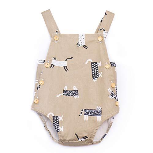 Alwayswin Neugeborenes Baby Mädchen Kind Cartoon Print Ärmellose Strampler Bodysuit Kleidung Süß Sling Weste Romper Mode Baumwolle Bequem Spielanzug Dünn und leicht Babykleidung