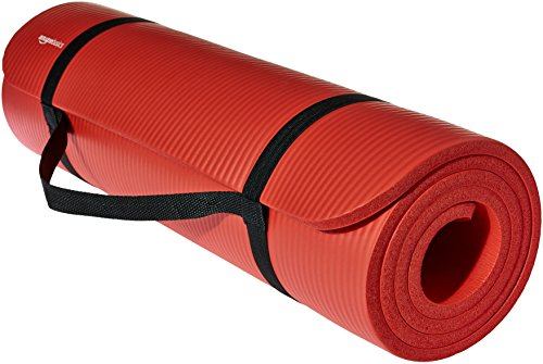 AmazonBasics 13mm Extra Thick Yoga and Exercise Mat with Carrying Strap, Red