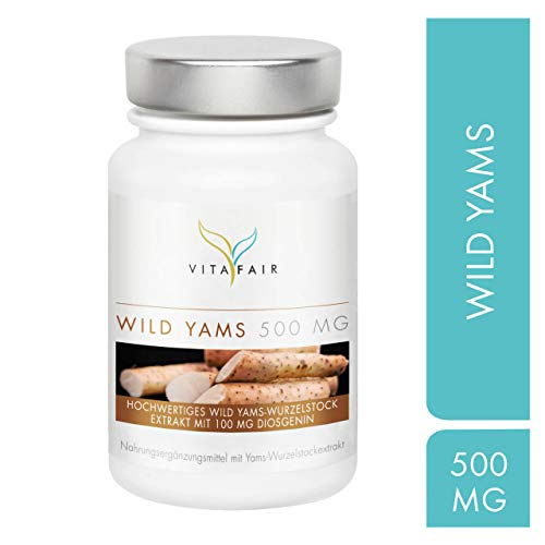 Wild Yams Extrakt - 500mg pro Tagesdosis - 120 Kapseln - 20% Diosgenin = 100mg - Hochdosierte Wild Yams Wurzel - Vegan - Ohne Magnesiumstearat - Made in Germany -