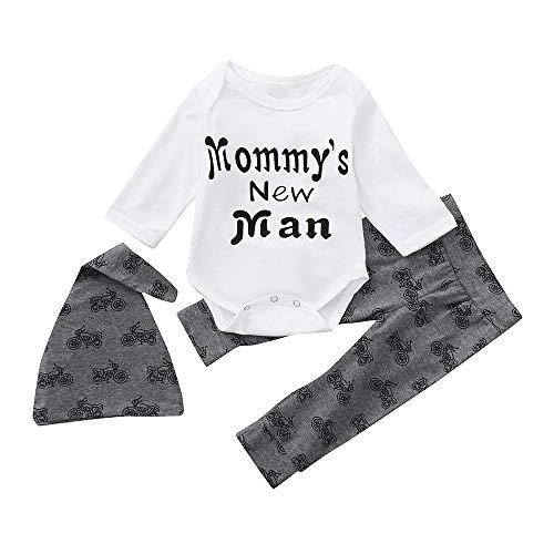 Kobay Neugeborenen Baby Jungen Brief Strampler Tops Hosen Hut Kleidung 3 STÜCKE Outfits Set(3-6M,Weiß)