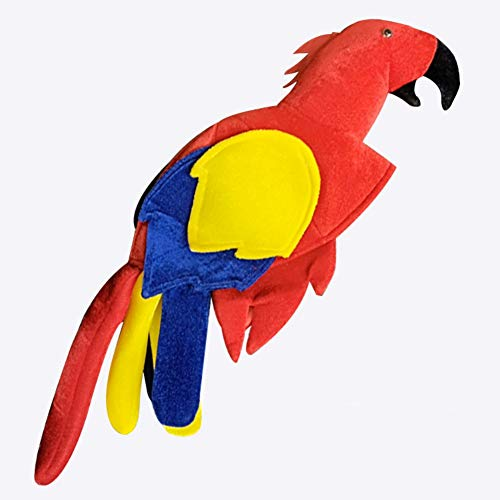 Kopfbedeckung Kostüm Tier - Halloween Dressup Party Papagei Hut - Neuheit Mütze Papagei Kopfbedeckung Tier Hut Vogel Kleidung Hut Unisex Kind Erwachsene Cosplay Kostüm