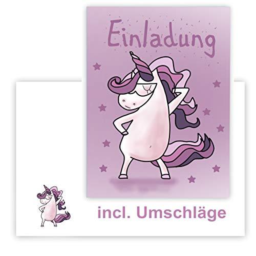 MK-Decor 12 Einladungskarten Kindergeburtstag mit tanzendem Einhorn in lila, Incl. Passender Umschläge