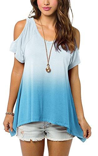 Urbancoco Damen Schulterfrei Gradient Farbe Tunika Top Ombre Shirt (M, blau)