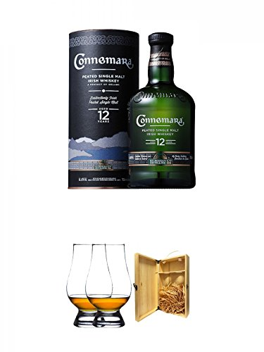 Connemara 12 Jahre Peated Single Malt Whiskey 0,7 Liter + The Glencairn Glass Whisky Glas Stölzle 2 Stück + 1a Whisky Holzbox für 2 Flaschen mit Hakenverschluss