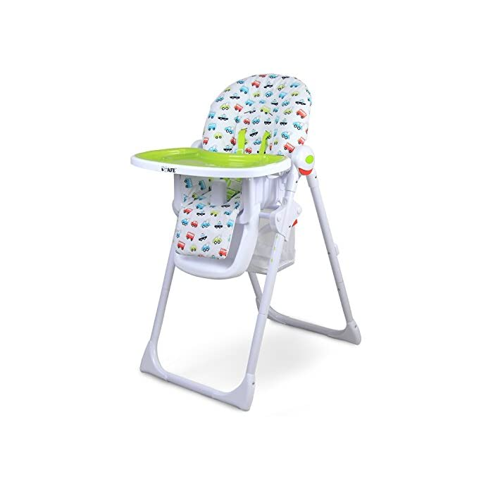 iSafe MAMA Highchair - Vrooom Recline Compact Padded Baby High Low Chair Complete With Double Tray & Storage Basket