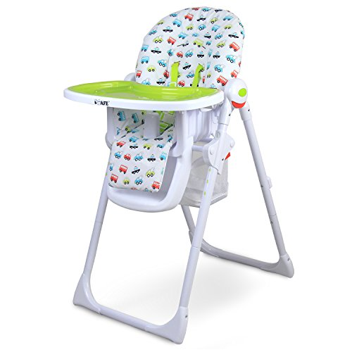 iSafe MAMA Highchair – Vrooom Recline Compact Padded Baby High Low Chair Complete With Double Tray & Storage Basket 41pLixJPyWL