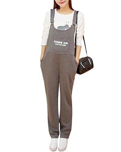 Salopette Premaman Donna Overall Tuta Jersey Pantaloni Casuale Baggy Strappy Monopezzi Grigio Scuro M