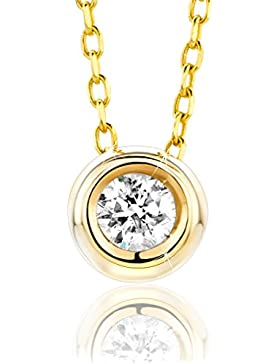 Orovi Halskette für Damen mit Diamant GelbGold Kette 9 Karat (375) Brillianten 0.10crt, Goldkette