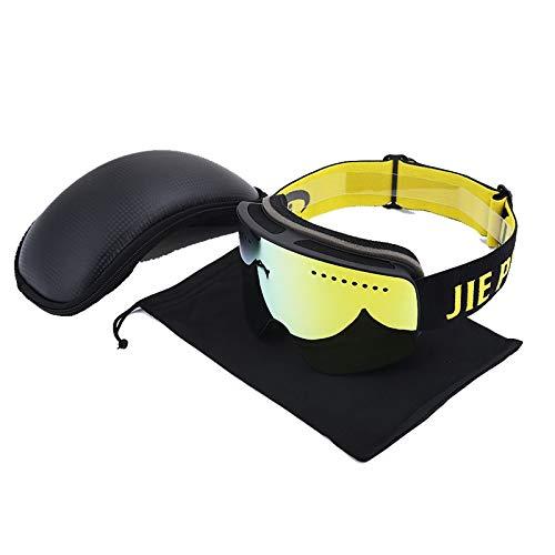 MaxAst Brille Winddicht Unisex Schneebrille für Brillenträger Schutzbrille Winddicht Outdoor Schwarz Gold