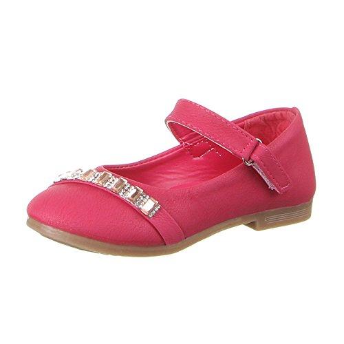Kinderschuhe Ballerinas M盲dchen Strass Deko Halbschuhe Schwarz Pink Rosa 20 21 22 23 24 25 Rosa
