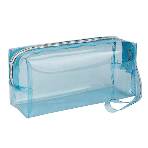 Kingko® Large Transparent Solid Color Zipper Cosmetic Jelly Pencil Case Office School Stationery (Light Blue) Test