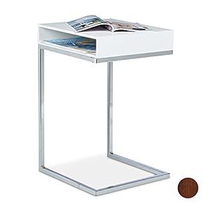 Relaxdays 10020361_49 Tavolino con Piedistallo da/per Soggiorno, Legno, Bianco, 38x37x61 cm