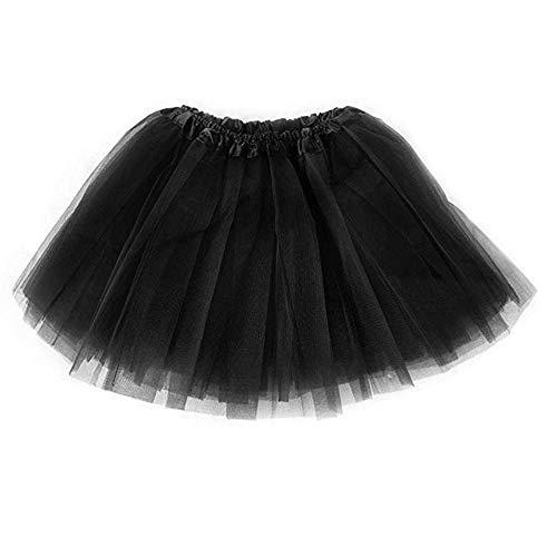 Mädchen Klassische Kostüm - Ruiuzi Tutu-Rock für Kinder, Mädchen, klassisch, 4-lagig, Tüll, Tutu, Rock für Partys, Halloween, Partys, Kostüme (schwarz, Kinder (2-8 Jahre))