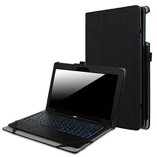 Fintie Odys Winpad 12 Hülle Case - Slim Fit Folio Premium Kunstleder Tastatur Ständer Schutzhülle Cover Tasche für Odys Winpad 12 / Odys Evolution 12 - 2in1 11,6 Zoll (29,5 cm) Convertible Tablet-PC, Schwarz