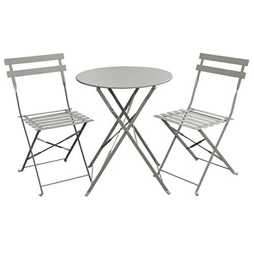 SVITA Bistro-Set 3-teilig Gartenset Garnitur Metall-Möbel Stuhl Tisch Kapp-Möbel Balko-Set Blau Weiß Schwarz Grau (Grau)