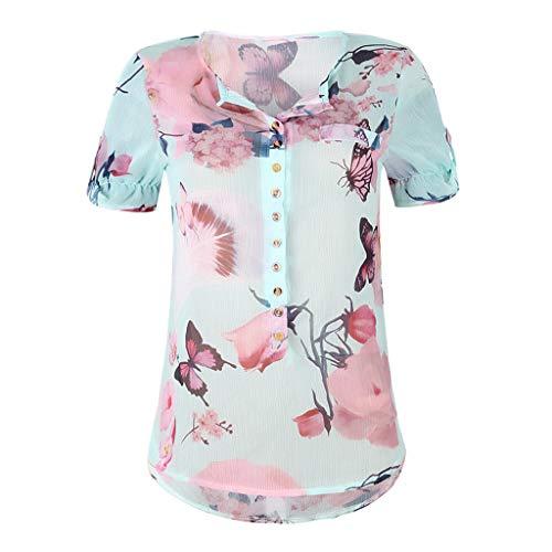 TWIFER Tops Damen Sommer Plus Size Chiffon Blumendruck Kurzarm Bluse Pullover Blusenshirt Shirt mit Taste -