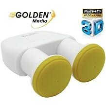 Golden Media - Cabezal monobloque con 2 salidas Full HD 3D 0,1 dB, LNB Monobloc Twin 6de Astra 19,2y Hotbird 13.