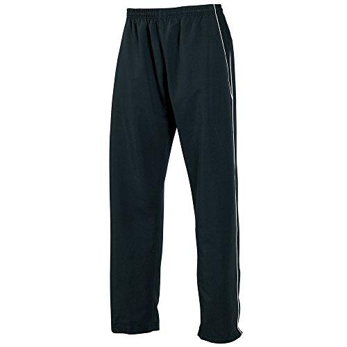 Tombo Teamsport Kids teamwear open hem lined training bottoms Black/ Black/ White Piping XL -