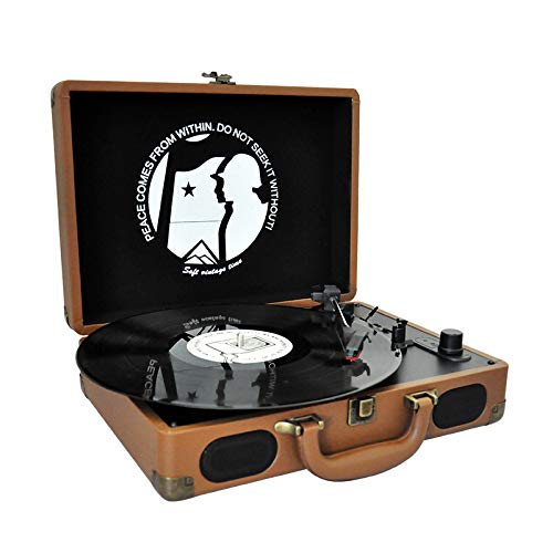 Lefang Retro Portable Vinyl Record Player Vintage LP Record Player Retro Vinyl Record Player Bluetooth Playback 33, 45, 78 RPM Play USB Transkription Automatic Stop