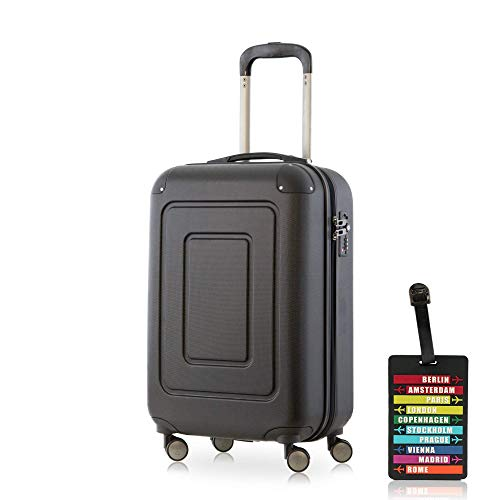 Happy Trolley - Lugano Handgepäck Kabinentrolley Bordgepäck Hartschalen-Koffer Trolley Reisekoffer, sehr leicht, TSA, 55 cm, 40L, Schwarz + Design Kofferanhänger