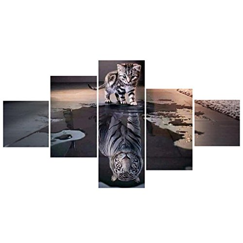Wandbild 5 Panels Katze und Tiger Diamant Stickerei Malerei Holeider