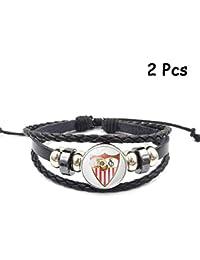1628586a1726 Lorh s store Retro La Liga Club de fútbol Pulsera de Cuero Tejido con  Cuentas Pulsera de