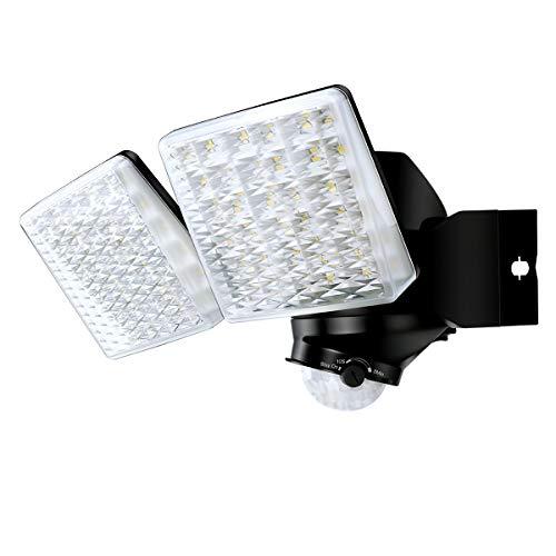 Faretto LED Con Sensore Di Movimento 20W, 2000LM Riflettore di Inondazione a 2 Teste Regolabili, 5000K, Proiettore LED Esterno Impermeabile IP65, Luce di Sicurezza a LED