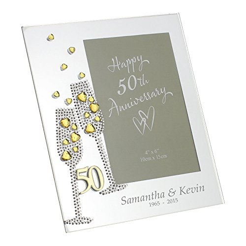 (Diamante Champagne Glasses Golden 50th Wedding Anniversary Glass Photo Frame 4