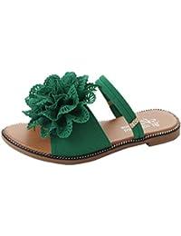 Manadlian Sommer Sale Sandalen Damen Hausschuhe Frauen Hausschuhe Sommer Einfarbig Blume Flache Ferse Sandalen