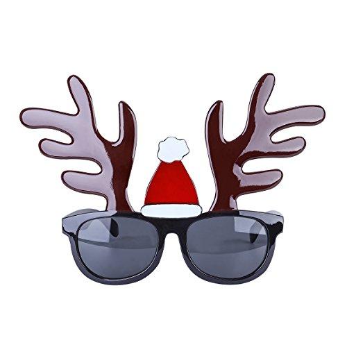 Tinksky Weihnachts-Party-Brillen-Sonnenbrille-Neuheit-Kostüm-Zusatz-glitzernde Ren-Weihnachtsbrille-Partei-Foto-Stand-Stützen