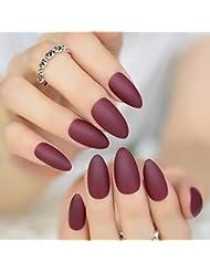 Echiq Mode Mat givré Stiletto Faux Faux ongles Pure Bordeaux Rose Gris  ovale Sharp pointu Noir