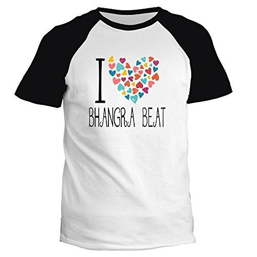 Idakoos I love Bhangra Beat colorful hearts - Musik - Raglan T-Shirt -