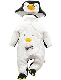 Hzjundasi Recién nacido Bebés Niños Pingüino Traje Romper Monos Infantil Encapuchados Manga Larga Algodón Jumpsuit Invierno Otoño Ropa