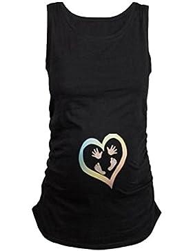 Q.KIM Canotta Premaman Top Divertenti Baby Magliette Premaman Divertente Stampa Tops T-Shirt Gravidanza Donna