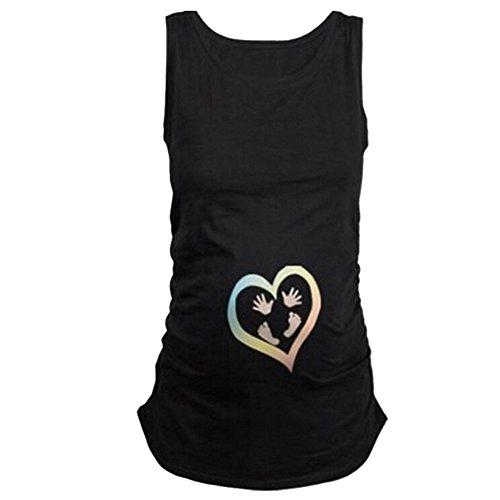 Q.KIM Witzige Maternity Damen Schwangerschaft Westeober T-Shirt Tank Top für Schwangere Ärmelloses-Heart,Schwarz L