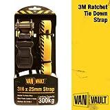 Van Vault S10677 3 m x 25 mm Ratchet Strap - Yellow