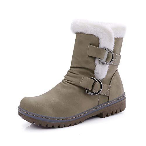 Stivali Donna Inverno Pelliccia Stivali da Neve Stringate Scarpe Snow Boots Caviglia Caldo Stivali Stivaletti (39 EU,Army Green)