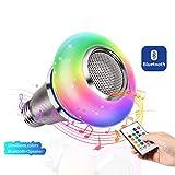 JJCFYY Lampadina LED RGB con diffusore a Colori e Altoparlante Bluetooth, E27 Smart Dimmable Mood Light con Telecomando con Telefono Cellulare per Home Stage Bar Party Festival