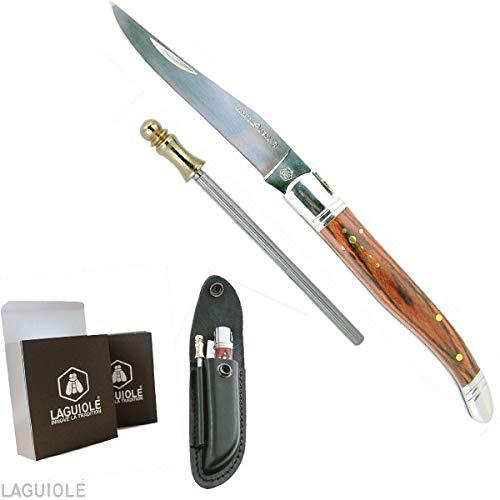 LAGUIOLE couteau Laguiole. Superbe couteau Laguiole avec étui cuir vachette noir et 1 fusil aiguiseur. Couteau pliant Laguiole manche bois exotique lg 22cm déployé, 12cm fermé, manche orné de la croix de berger. Acier inoxydable