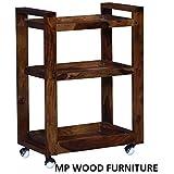 MP WOOD FURNITURE Bar Trolley/Serving Trolley/Wooden Service Trolley (Sheesham Wood) (Teak Wood Shade)